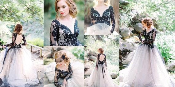 Nicht-traditionelle schwarze Hochzeit / Prom / Anlass Kleid