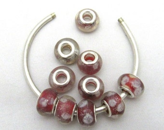 10 Handmade Lampwork Euro Style Silver Foil Beads Red (B110c)