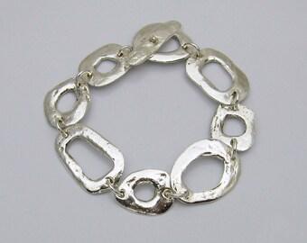 Handgefertigte Silber Armband, rustikale Silber Armband, Silber Armband, große Silber Armband, Silber Handwerker Armband, Geschenk für Sie