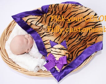 Minky Tiger Cat Security Blanket, Lovey Blanket, Satin, Baby Blanket, Stuffed Animal, Baby Toy - Customize Color  - Add Monogramming