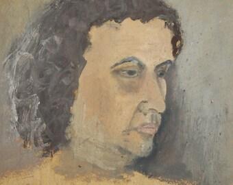 1962 gouache & watercolor painting man portrait