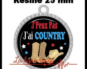 Round Cabochon pendant 25 mm epoxy resin - I can not I have Country! (2090) - text, fun, sorry, humor