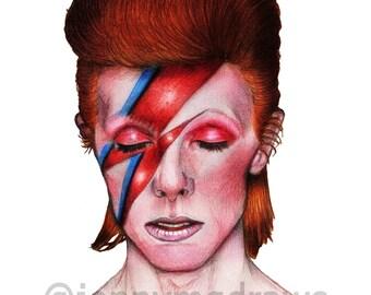 David Bowie Aladdin Sane A4 Portrait Print (Lightning Bolt)