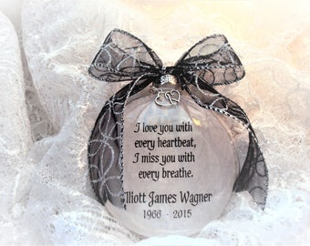 Memorial Ornament I Love You With Every Heartbeat with Double Heart Charm