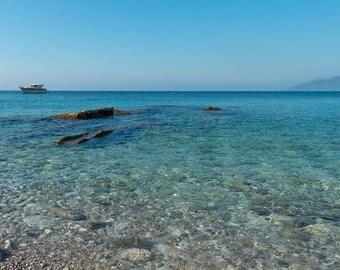 Isle of Capri Photo, Italy Photography, Southern Italy Photography, Beach view from the Isle of Capri, Italian Wall Art, Metal Print