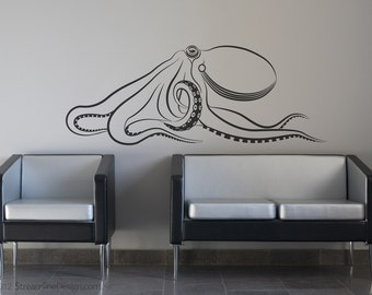 Giant Octopus Wall Decal | large octopus decal kraken squid wall decor nautical tentacles sea creature under the sea