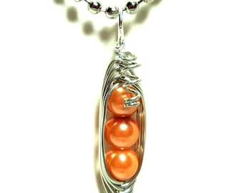 Pea Pod Necklace, Peas in a Pod Pendant, Light Orange Pearls or Personalize