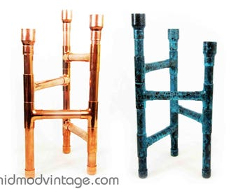 Mid Century Style Three Column Candelabra in Copper or Blue Patina Copper. Made to Order.