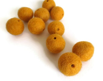 sunflower yellow felt beads with holes - 10 pack - handmade natural wool felt ball pom pom, 3 sizes. great kids craft