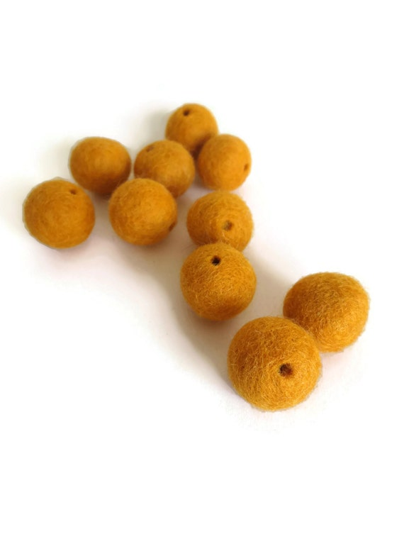 sunflower yellow felt beads with holes - 10 pack - handmade natural wool felt ball pom pom, 3 sizes. great kids craft