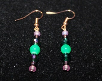 Green Dangly Earrings