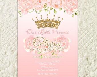 Princess Birthday Invitation, Pink And Gold Princess Invitation, Princess Birthday Party Invitation, Crown Birthday, Royal Celebration