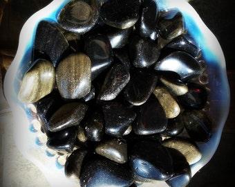 Gold Sheen Black Obsidian 2 Tumbled Stones