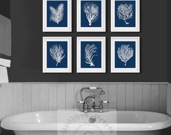 Navy Beach Wall Art,  a set of 6 white sea corals with navy background. Gift for her, beach house decor, beach bathroom decor, Coastal art