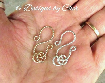 Sterling Silver or Gold Filled Twisted Wire S Clasp and Rings (16ga) Handmade Fancy 3pc Clasp MTO Set for Jewelry Making