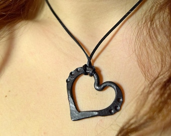 Hand forged steel heart necklace