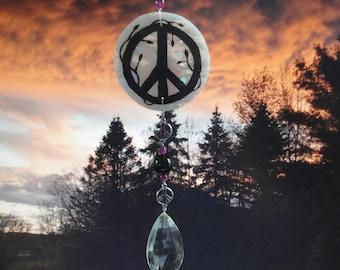 Peace Sign Sun Catcher, Glass Sculpture, Vintage Crystal, Mobile, Ornament, Suncatcher, Hand Painted, Home Decor, Garden Art, Retro Art