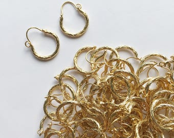 Wholesale 100 pairs textured vintage tiny hoop earrings boho style, small hoop earrings, gold plated hoop earrings