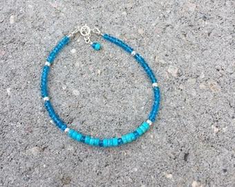 Turquoise  Bracelet, Nacorari Turquoise, Skinny Bracelet, Natures Splendour Jewelry, Blue Bracelet, Apatite Bracelet, Unisex Bracelet