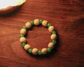 Neon Mint Green and Light Wood Bracelet