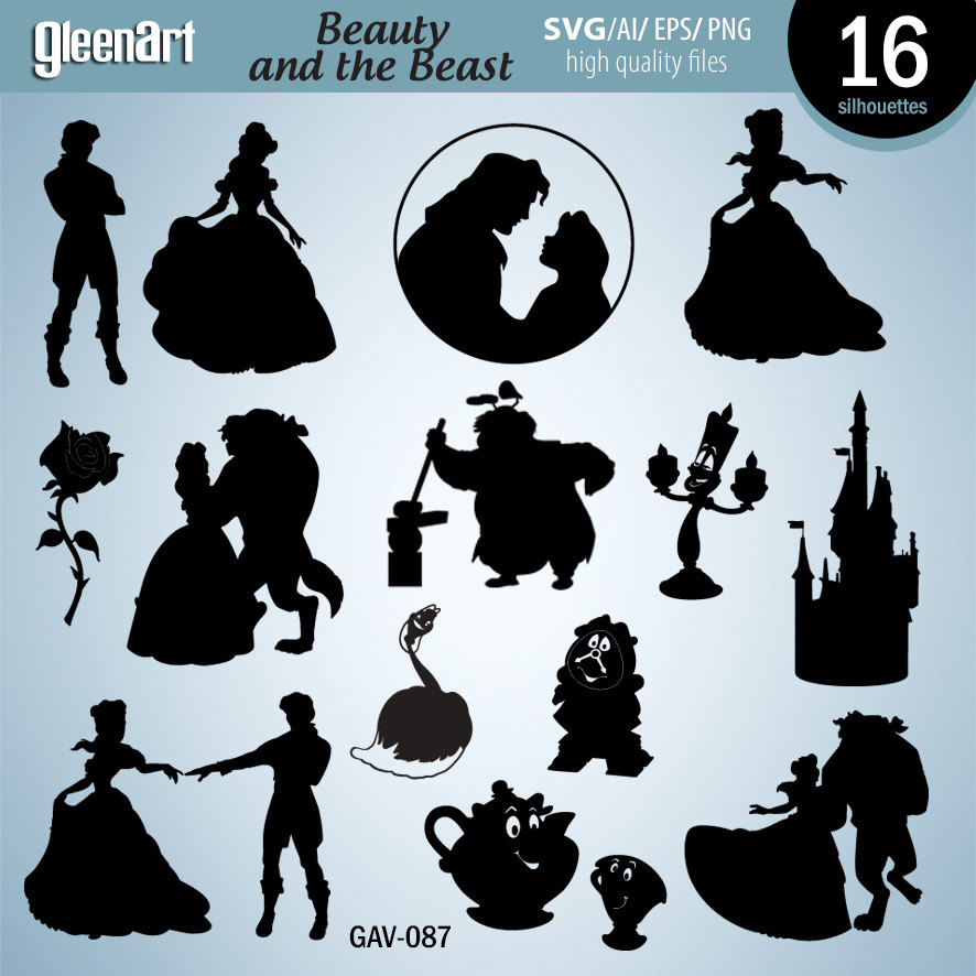 Sale Beauty And The Beast Silhouette Clipart Digital