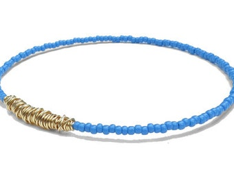 Seed Bead Bracelet // Blue Gold Bangle Bracelet // Eco-Friendly Recycled Jewelry // Friendship Bracelet // Bridesmaid Gift // Guitar String