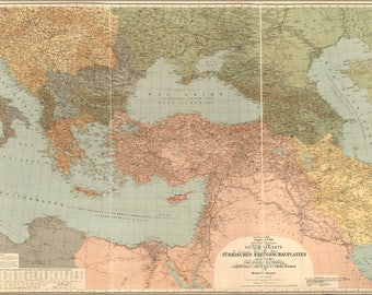 Poster, Many Sizes Available; Map Turkish Ottoman War Theaters 1916 In Turkish