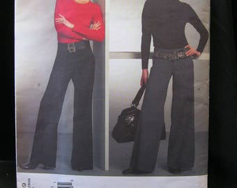 Vogue 1059, sizes 4 to 10, uncut flared pant pattern, by Alice + Olivia, Vogue American Designer, yokes, back and side pockets, fitted