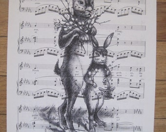 french market le lapin bunny on vintage sheet music