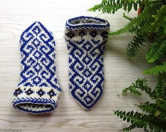 hand knit wool slippers for women men, wool slipper socks, blue wool slippers No338