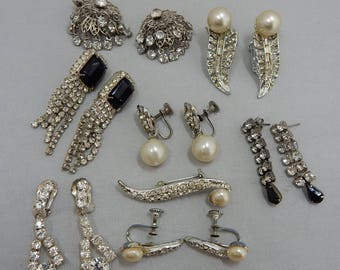 7 pr Vintage Rhinestone & Pearl Clip and Screw Back Earring Lot    PG24