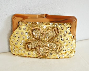 1950's Satin Purse Small Clutch Gold Sequined Beaded Evening Bag Lucite Hardware