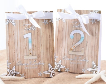 Beach Wedding Table Number Tent Cards - Beach Wedding Table Centerpiece - Beach Wedding Decor - Nautical Wedding Table Tents