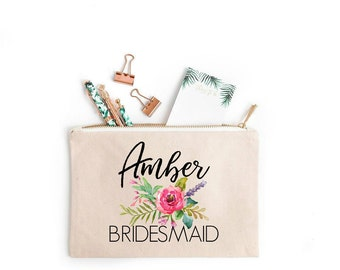 Bridesmaid Cosmetic Bag, Floral Bridesmaid Makeup Bag, Floral Bridesmaid cosmetic Bag, Bridesmaid Makeup Bag, Makeup Bag for Bridesmaid