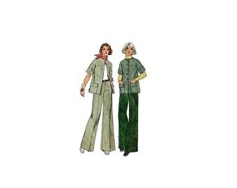 1970s Vintage Sewing Pattern - Simplicity 5529 - Cuffed Jacket Wide Leg Pants