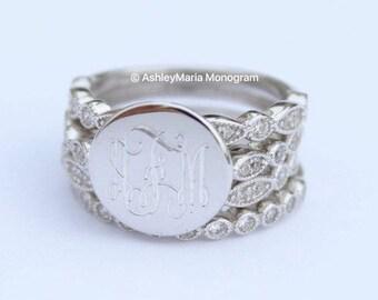 Monogram Sterling Silver Rings, Monogram Stackable Rings, Sterling Silver Monogram Rings, Monogram Engagement Ring