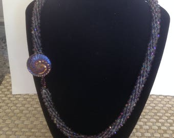 Crystal  and Button Kumihimo necklace
