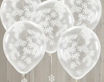 Christmas, Snowflake Confetti Filled Balloons