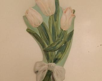 Vintage Art Deco Brentleigh Ware Pottery Tulip Wall Pocket
