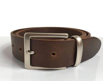 "Leather Belt - 1"" 1/2 - Handmade In Uk - Mens Belt - Jeans Belt - Brown Belt - Custom Belt"
