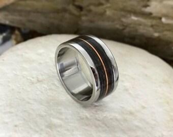 Wood Inlay Ring with Dinosaur Bone, Meteorite and a Copper Inlay.  Steel Wood Ring, Meteorite Ring, Dinosaur Bone Ring, Wooden Rings