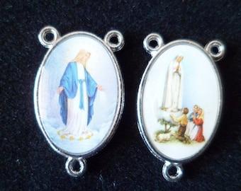 Rosary Center 1 Double-sided miraculous Virgin, Virgin 3 Shepherd 23 mm