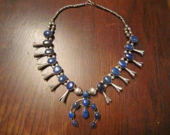 Lapis Lazuli Squash Blossom Sterling Necklace