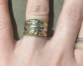 14k Solid Gold Two Tone Wide Band Ring Size 5