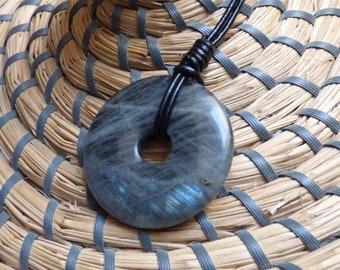 LABRADORITE on leather cord