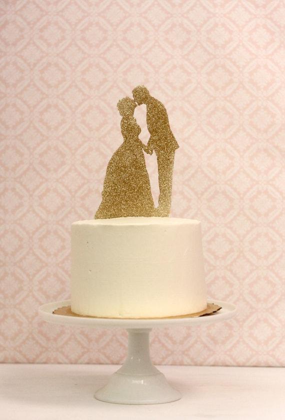 Silhouette Wedding Cake Topper in gold glitter CUSTOMIZED
