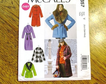 EASY Duffle Coat / A Line Fall Jacket w/ Shawl Collar / Hooded Wrap Jacket - Size (Xsm - Med) - UNCUT ff Sewing Pattern McCalls 6657