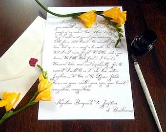 """Custom calligraphy love letter, handwritten love letter, quote, calligraphy hand lettered wedding vows (9.7""""x13.6"""")"""