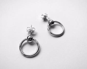 Upside down PIERCING earrings - sterling silver