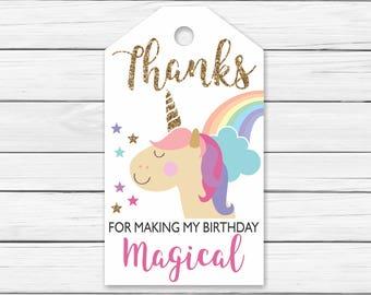 Unicorn Rainbow Thank You Tags Printable - Printable Unicorn Thank You Tags Pink and Gold - Unicorn Birthday Favor Thank You Tags. Rainbow
